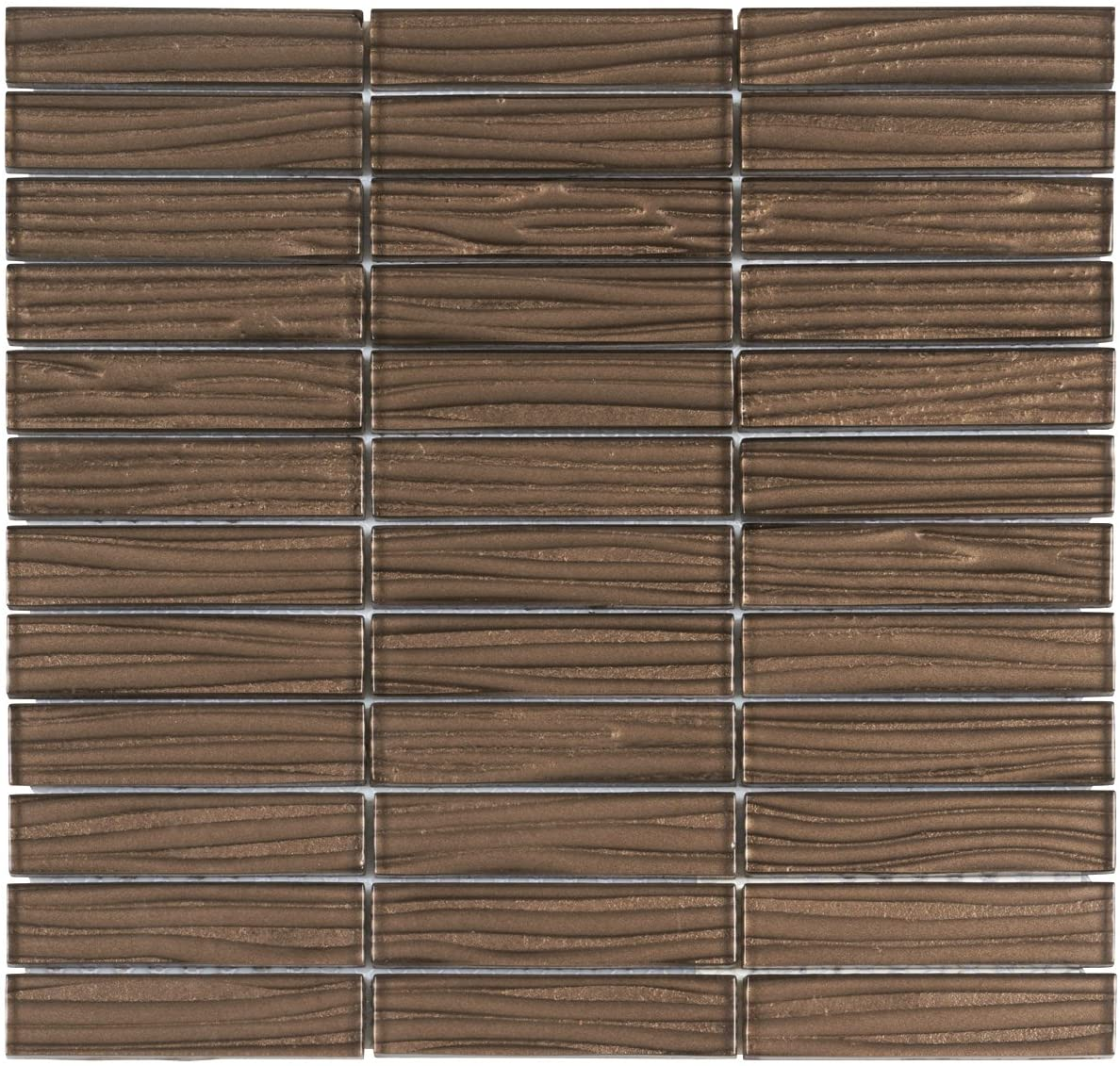 Modket TDH41MO Brown Wave Metallic Cold Spray Mosaic Tile Stacked Pattern Backsplash