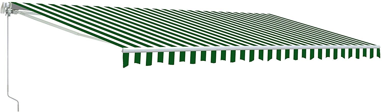 ALEKO AW12X10GWSTR00 Retractable Patio Awning 12 x 10 Feet Green and White Striped