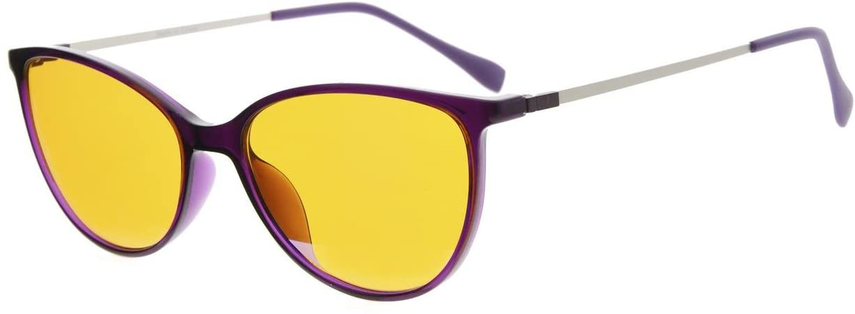 Eyekepper Cateye Style 97% Blue Blocking Reading Glasses,Dark Orange Lens with Anti Reflective Coating Computer Readers (Purple, 0.50)