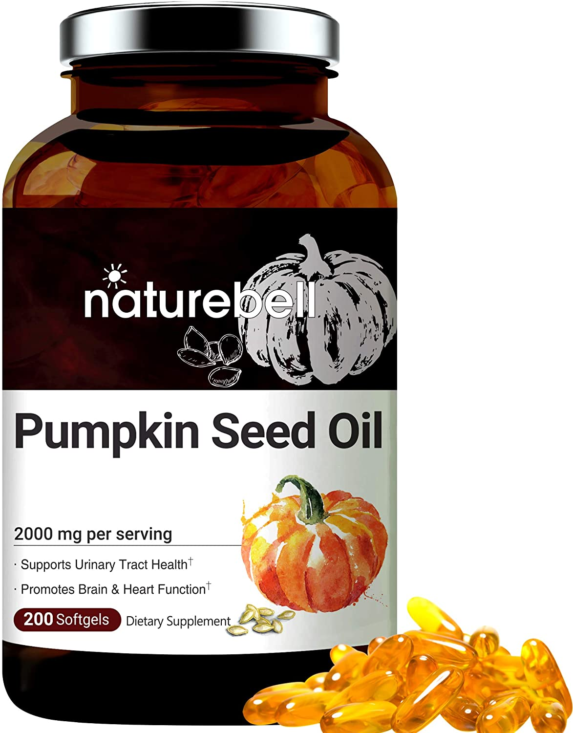 Maximum Strength Pumpkin Seed Oil Capsules 1000mg, 200 Liquid Soft-gels, Cold Pressed, Rich in Omega 3 6 Essential Fatty Acids, No GMOs and Made in USA