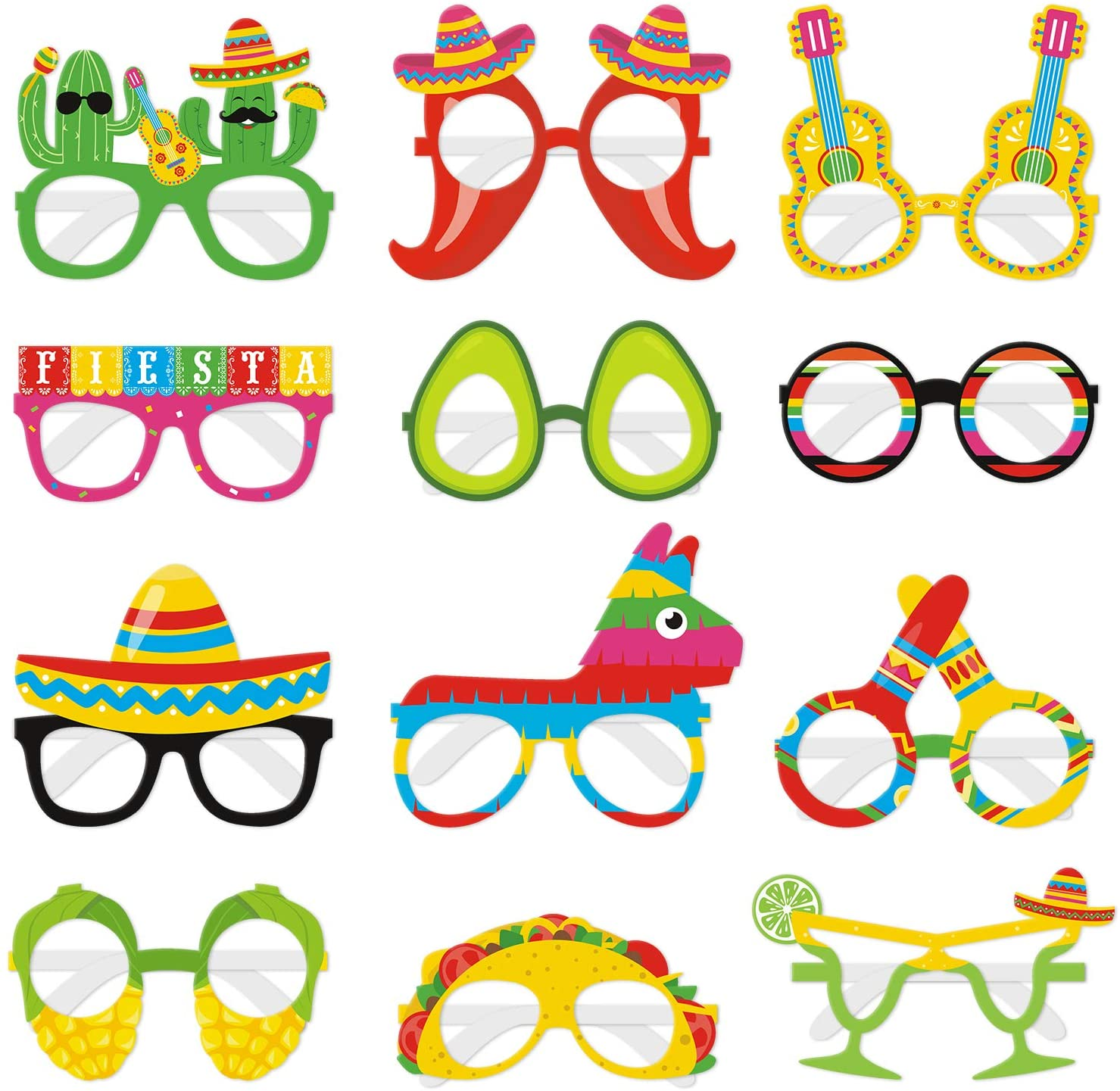 12PCS Fiesta Eyeglasses Cinco De Mayo Paper Eyewears Mexican Themed Taco Cactus Pinata Hello Avocado Photo Props Let's Fiesta Party Supplies