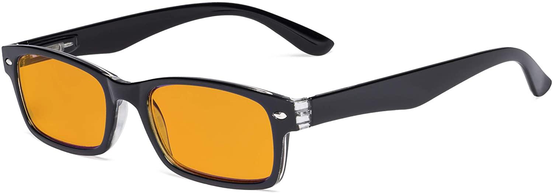 Eyekepper Blue Light Blocking Computer Glasses with Orange Tinted Anti UV Rays Filter Women Men - Nighttime Better Sleeping Digital Readers - Black +1.75