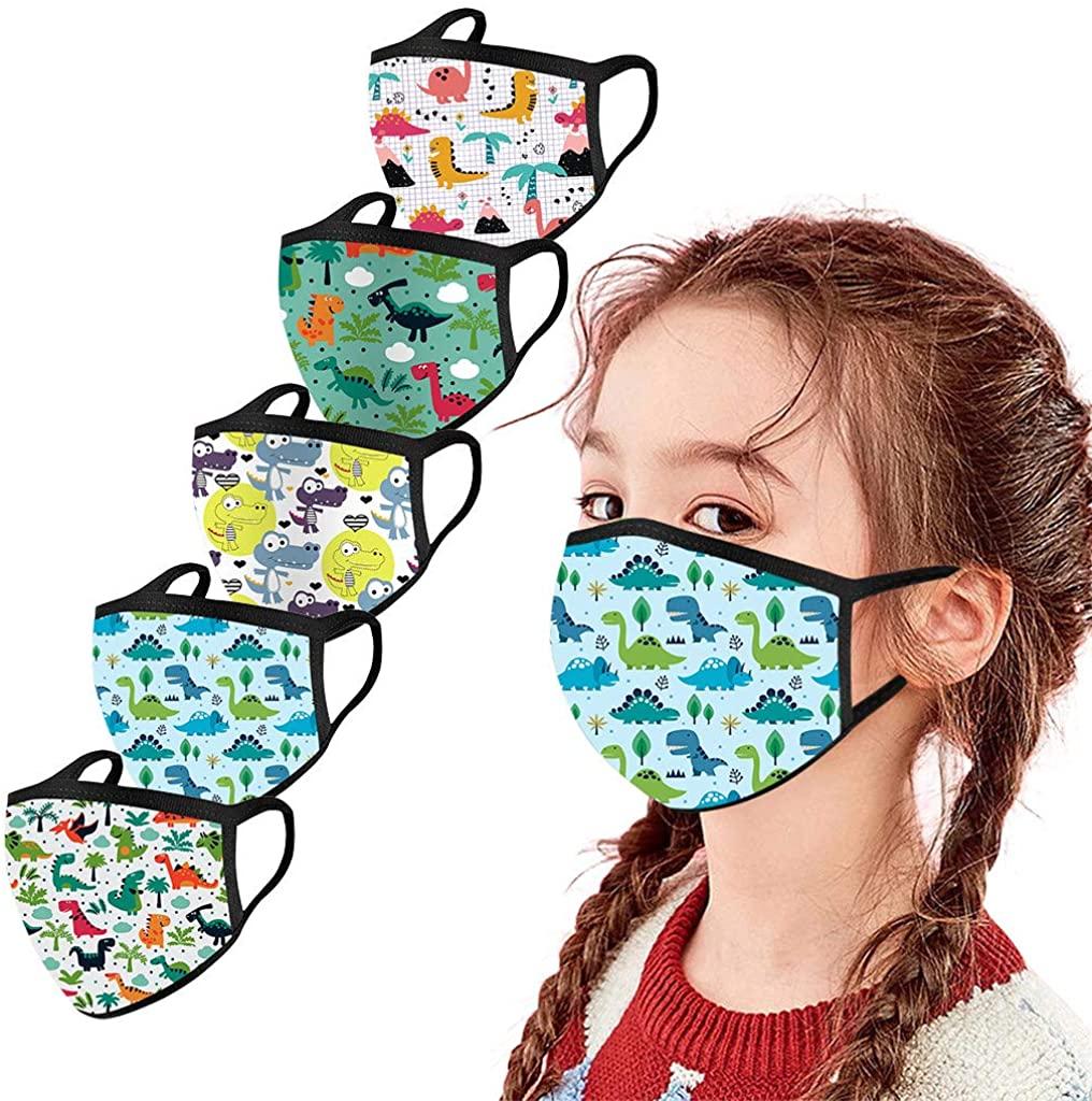 5PCS Kids Reusable Washable Facial Cotton Covering Children Face_Mask for Outdoors Haze Dust Face Health Protection