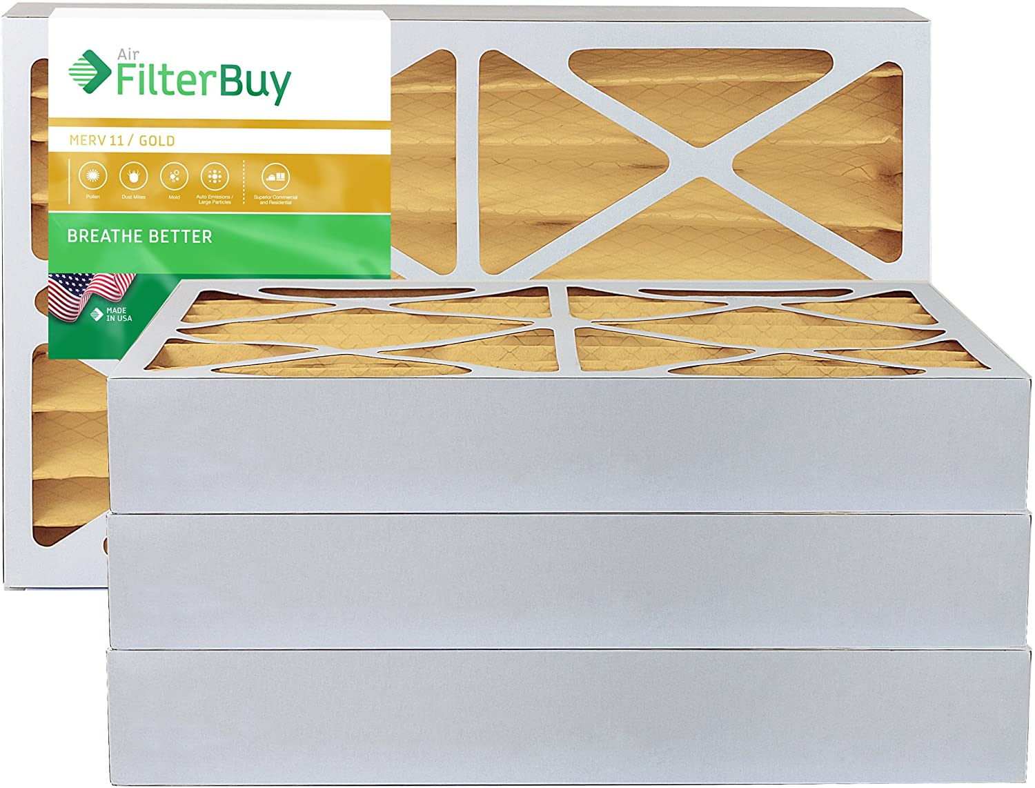 FilterBuy 18x20x4 MERV 11 Pleated AC Furnace Air Filter, (Pack of 4 Filters), 18x20x4 – Gold