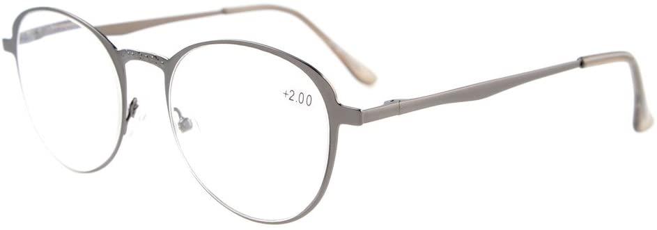 Eyekepper Readers Quality Spring Hings Large Round Reading Glasses Gunmetal +1.5