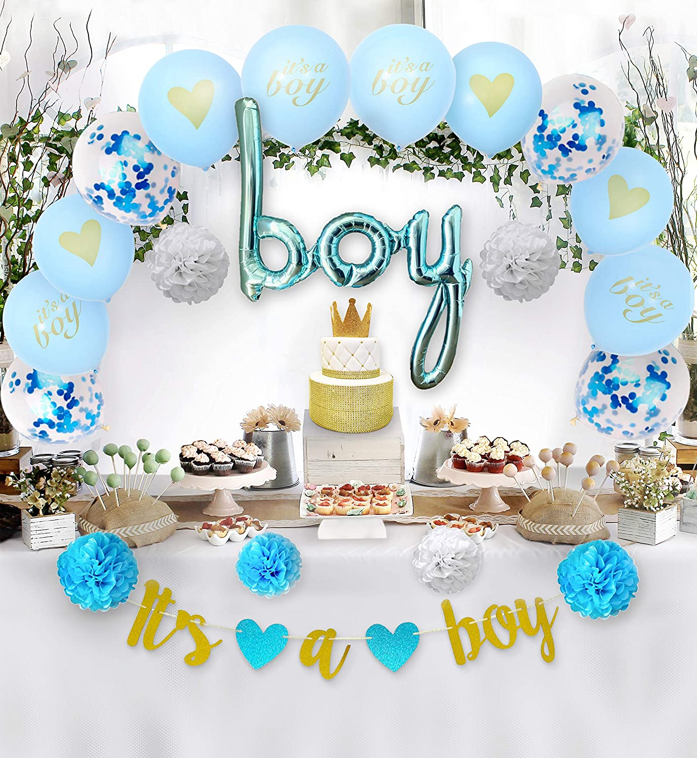 Baby Shower Decorations Boy Gender Kit, Welcome your baby boy with this party decor including a Gold Banner, Script Balloon, Paper Flowers Pom Poms, Confetti Balloons and It's a Boy & Heart Balloons