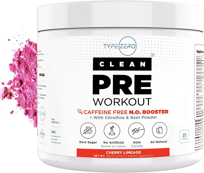 Caffeine Free Pre Workout Nitric Oxide Booster + Beet Root, L Arginine, Citrulline Malate & AAKG - Ultra Powerful Preworkout Powder for Women & Men on Keto Diet - Natural Stim Free Preworkout + No2