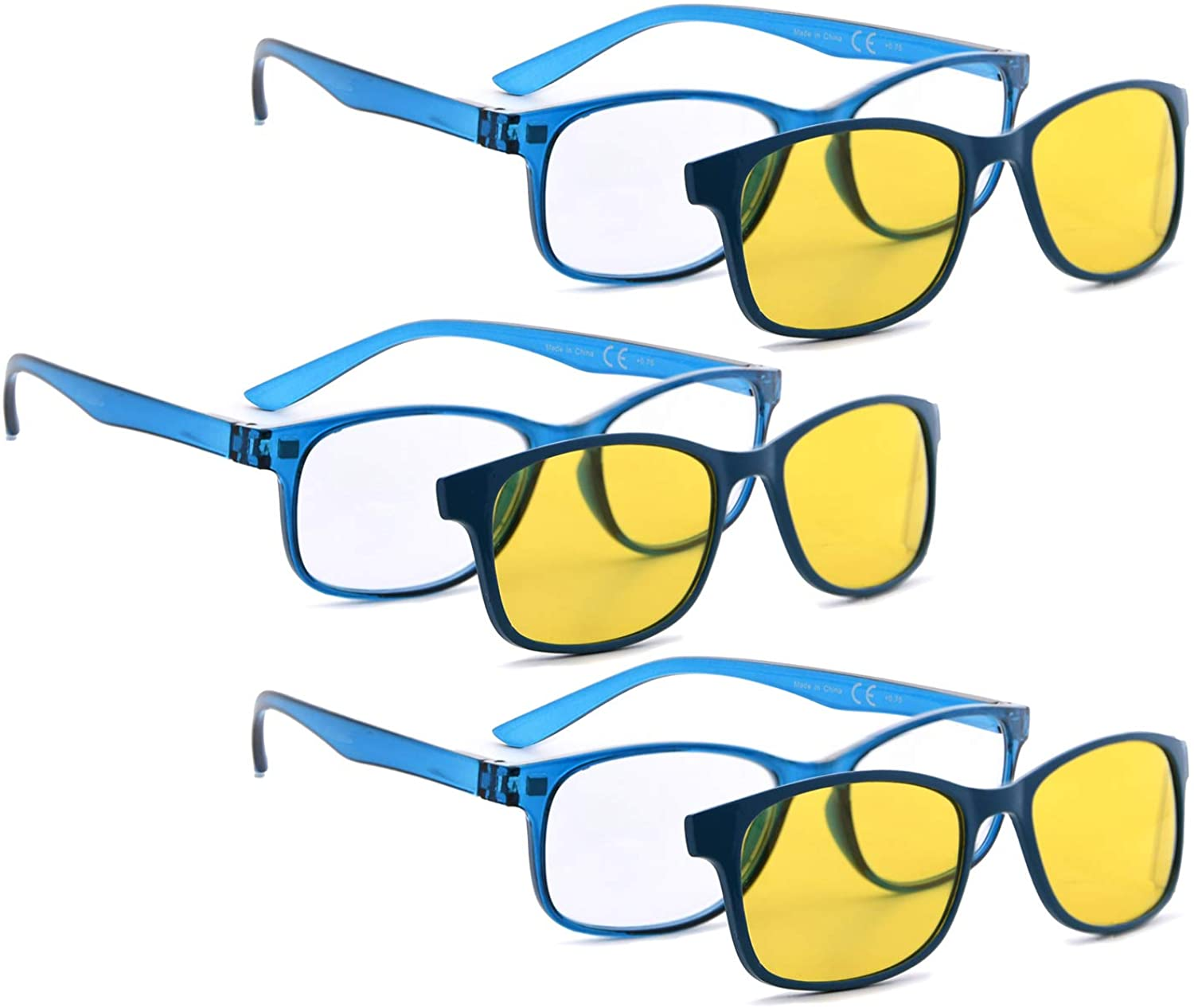 READING GLASSES Include Anti Blue Rays Photochromic(Yellow Change to Brown) Polarized Lens Clip on Glasses 3 pack