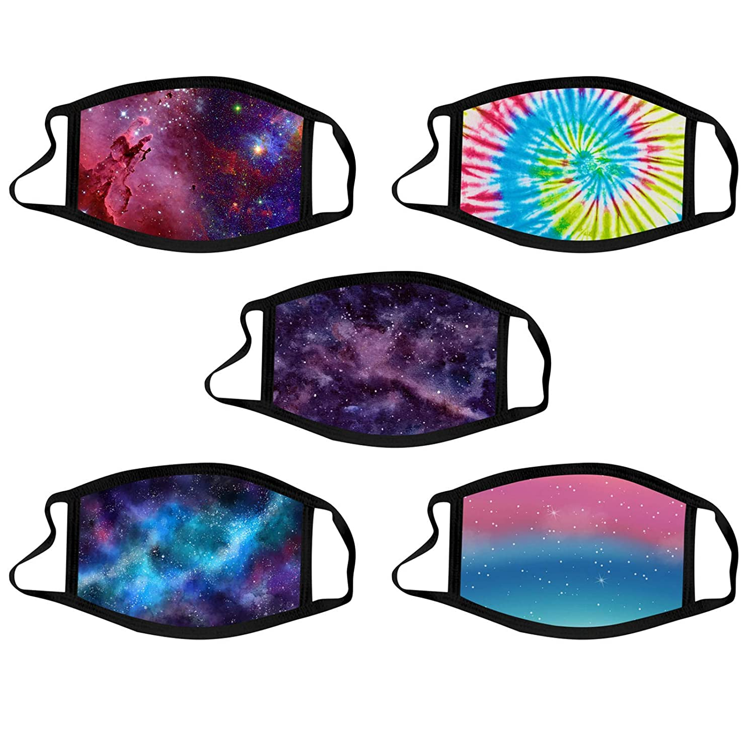 Face_Mask with Star Sky Tie Dye Printing for Adults Reusable Washable Windproof Breathable Dustproof Bandanas for Woman Indoors and Outdoors, Tie Dye C, 5PC