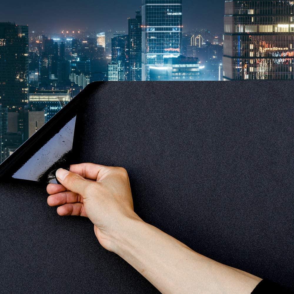 Static Cling Total Blackout Window Film 100% UV Blocking Window Darkening Film Best Black Window Tint Removable Plastic Glass Covering (23.6x236.2 inches)
