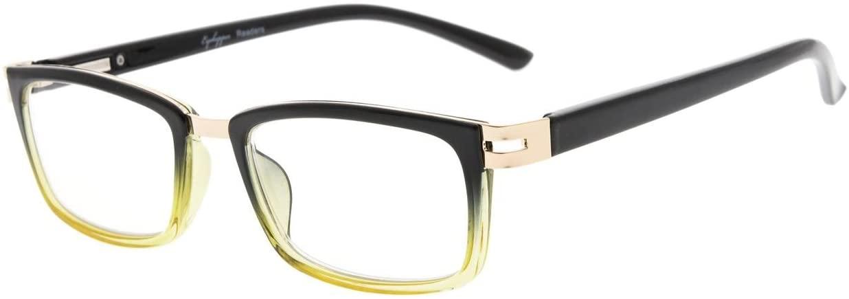 Eyekepper Reading Glasses Spring Hinges Readers Men Women (Black Yellow,+0.50)