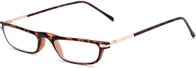 The Posh Reader Reading Glasses, Spring Hinge Metal Rectangle Frame for Men and Women + 1.25 Tortoise