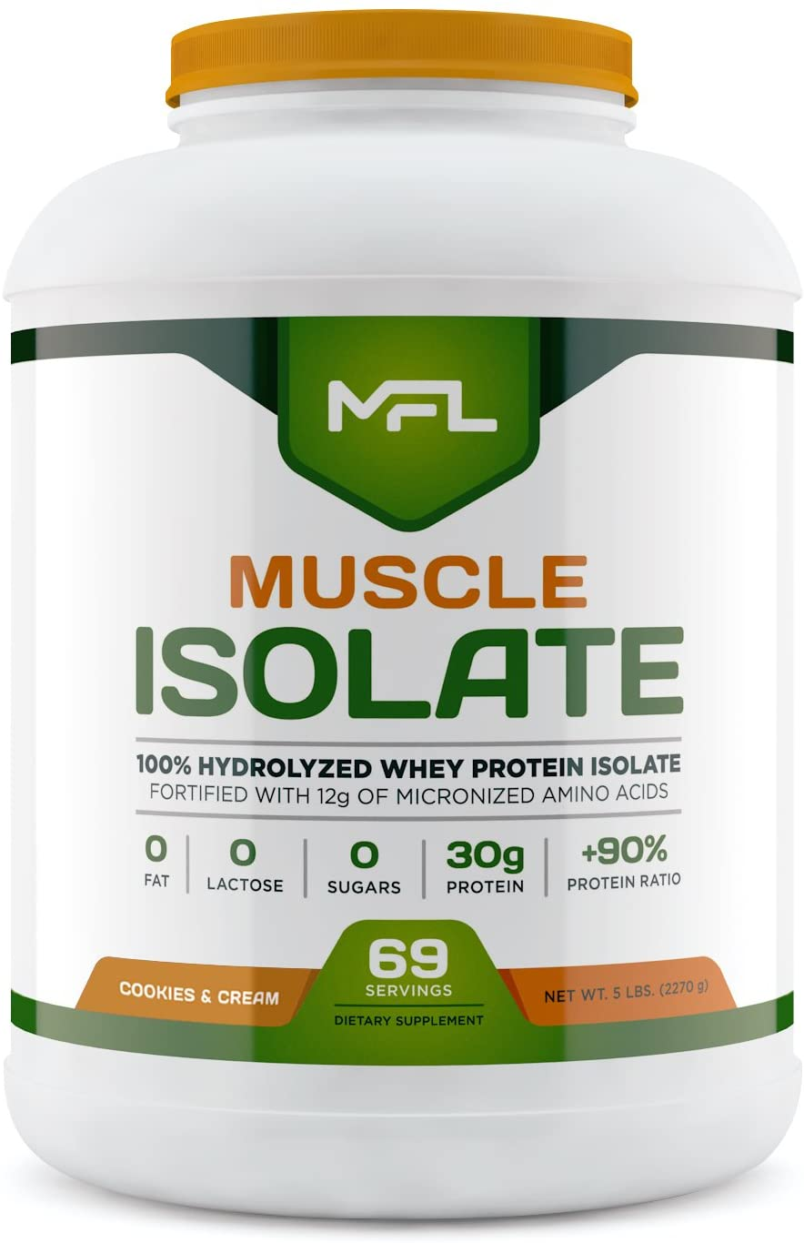 MFL 100% Isolate Protein l 30g of Protein l 12g Amino Acids l Keto Friendly l Low Carbs l 5 lbs. (Cookies & Cream)