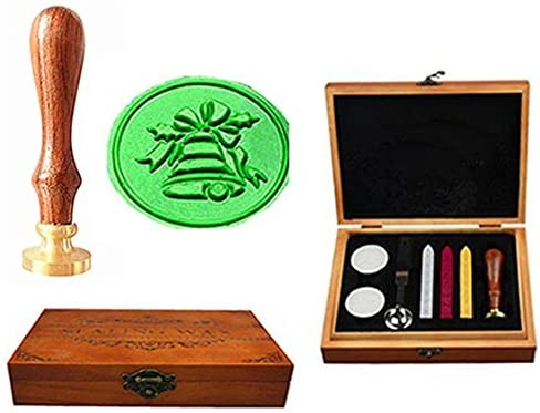 MNYR Vintage Christmas Bell Gift Luxury Wood Box Art Wax Seal Sealing Stamp Decorative Wedding Invitations Gift Cards Paper Stationary Envelope Custom Picture Wax Seal Sealing Stamp Set