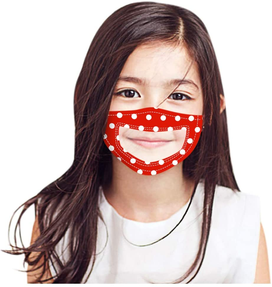 Children's Face Coverings with Clear Window,Polka Dot Print Mouth Bandanas for Deaf and Hard of Hearing People