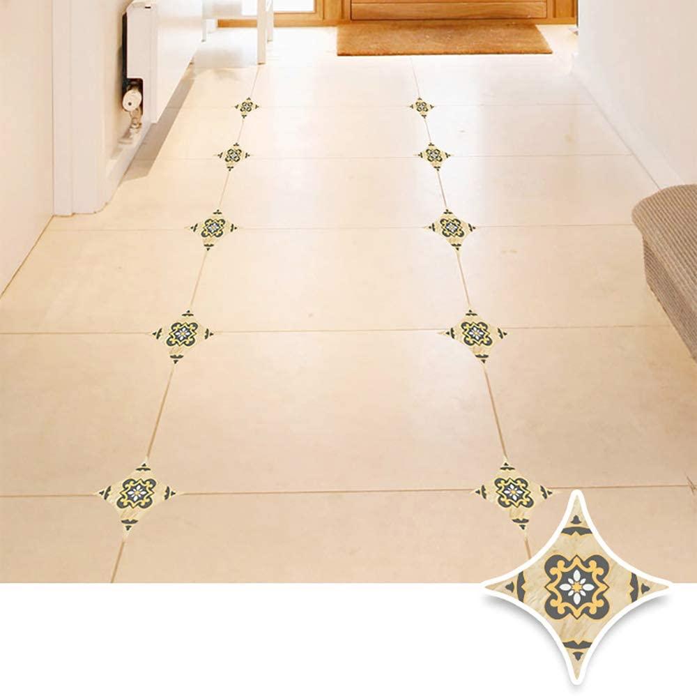 45 Pcs Diagonal Floor Stickers, Moroccan Style Kitchen Decorative Sticker Self Adhesive PVC Ceramic Tile Stickers Waterproof Wall Sticker