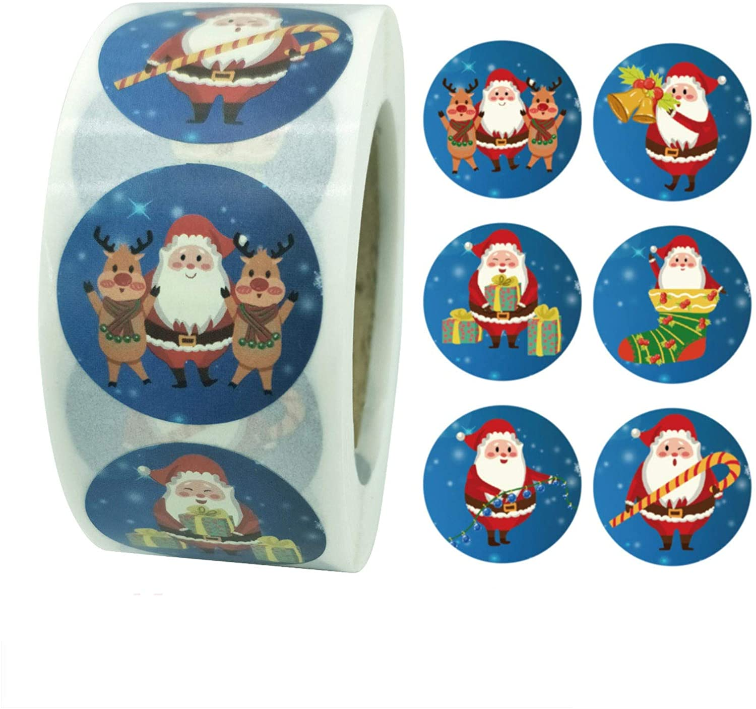 YuanYang hotpot Christmas Stickers, 500 Pieces Christmas Round Label Stickers Christmas Envelope Stickers Seals for Cards Present Envelopes Boxes Bag Sealing Decorations (B)