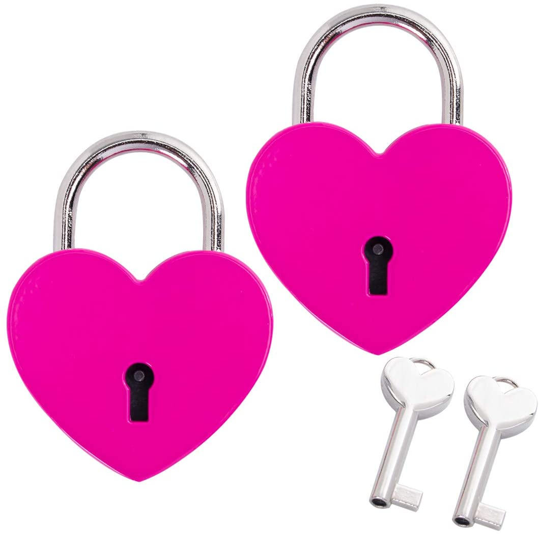 Alloy Heart Shaped Padlock Love Lock with Key for Jewelry Box Storage Box Diary Book,Pack of 2, Rose Red