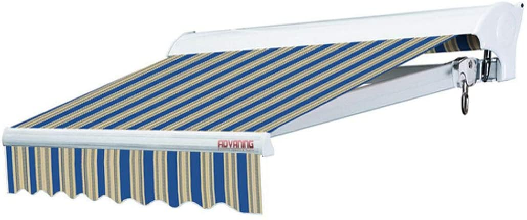 ADVANING 14'x10' Motorized Patio Retractable Awning   Luxury Series   Premium Quality, 100% Solution-Dyed European Acrylic UV Sun Shade, Color: Ocean Blue Stripes, EA1410-A447H2