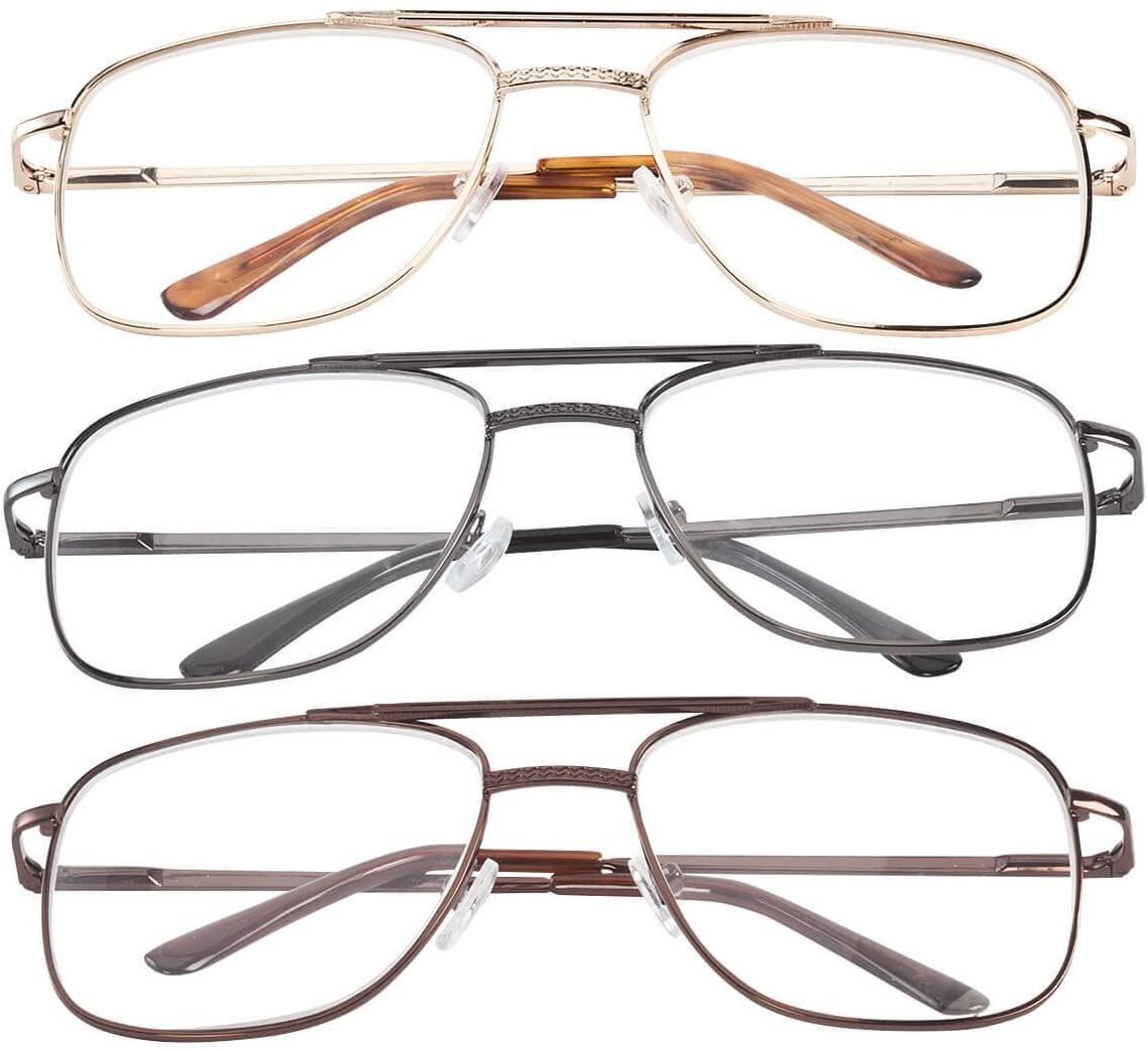 Spring Hinge Pilot Reading Glasses - 3 Pack Magnification 6.00X