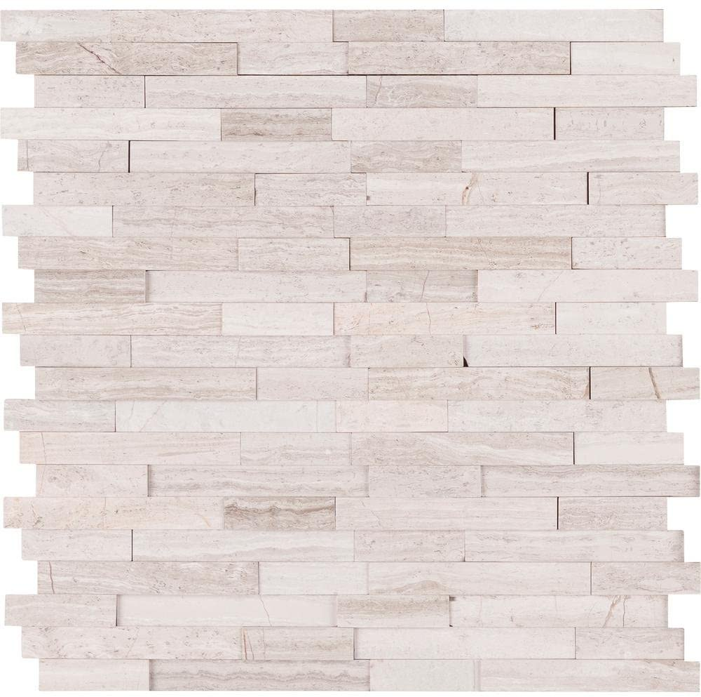 Vogue Peel & Stick Light Athens Gray Honed Brick Pattern Mosaics for Kitchen Backsplashes, Wall Fireplace Tile (5)