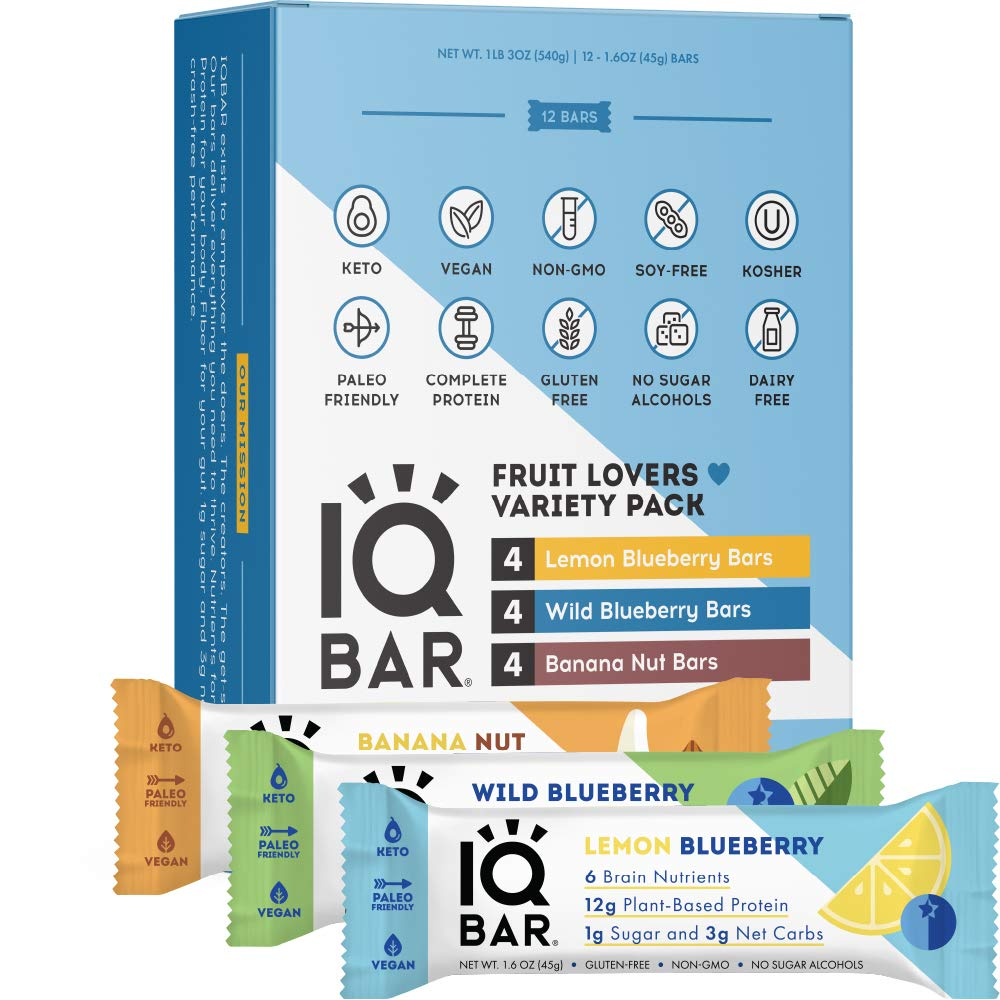 IQBAR Brain + Body Protein Bars, Fruit Lovers Variety, Keto, Vegan, Paleo Friendly, Low Sugar, Low Net Carb, High Fiber, Gluten Free, No Sugar Alcohols, 12 Count