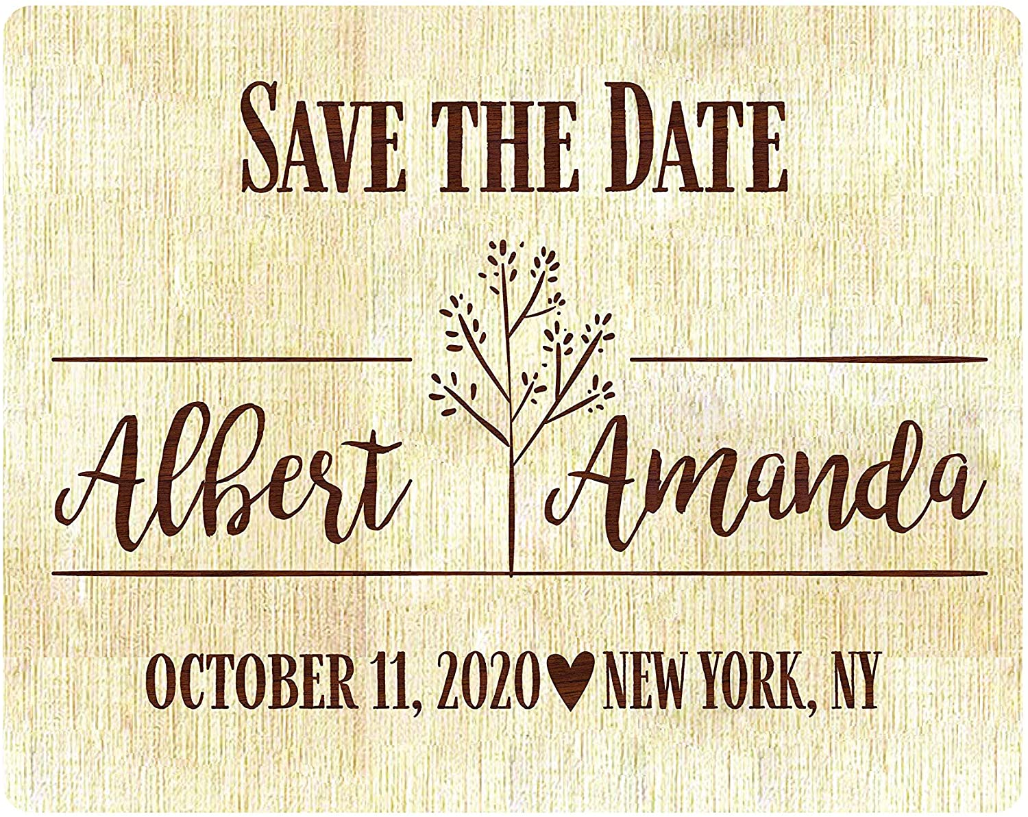 Wedding Invitations Personalized Wood Engraved Save The Date, Personalized Magnet Invitation, Custom Engraved Save The Date Wedding Announcement, or Engagement, Anniversary (Design 01, 1)