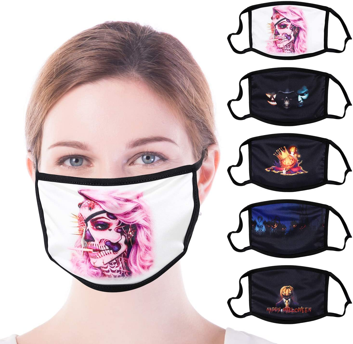 5 Pack Reusable Facial Protection Cover with Pumpkin Pattern Anti-Fog Dust-Proof Bandanas Anti-Haze Washable Cotton Full Face Protection Masks for Halloween