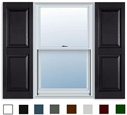 15 Inch x 39 Inch Standard Raised Panel Exterior Vinyl Shutter, Black (Pair)