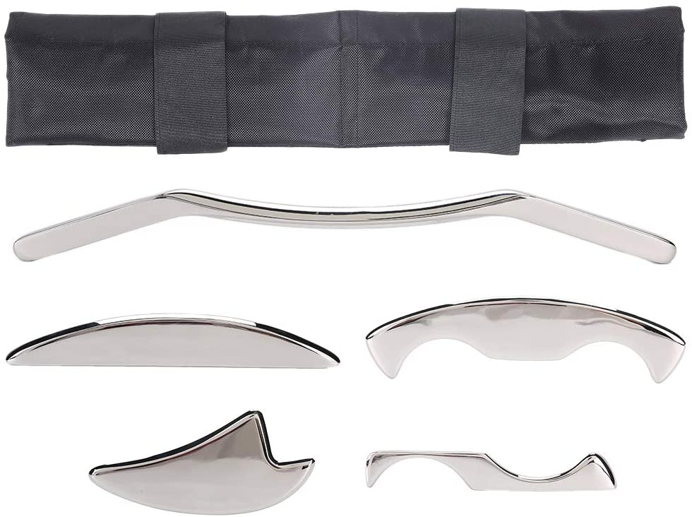 Stainless Steel Gua Sha Scraping Massage Tool Set, Massage Tool for Soft Tissue, Myofascial Release Kit for Soft Tissue Mobilization Therapy for Back, Leg, Arm, Neck, Shoulder and Whole Body 5pcs