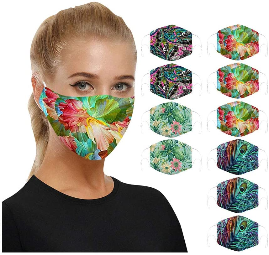 10PCS Face Bandana Dust Protection Reusable Mouth Cotton Cloth Cover Washable Elastic String Cycling Seamless Fabric Half Balaclava, Fashion Rewashable Breathable Re-Useable