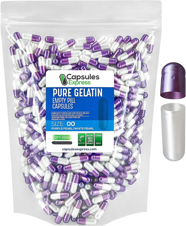 Capsules Express- Size 00 Purple Pearl and White Pearl Empty Gelatin Capsules - Kosher Pure Gelatin Pill Capsule - DIY Powder Filling (1000)