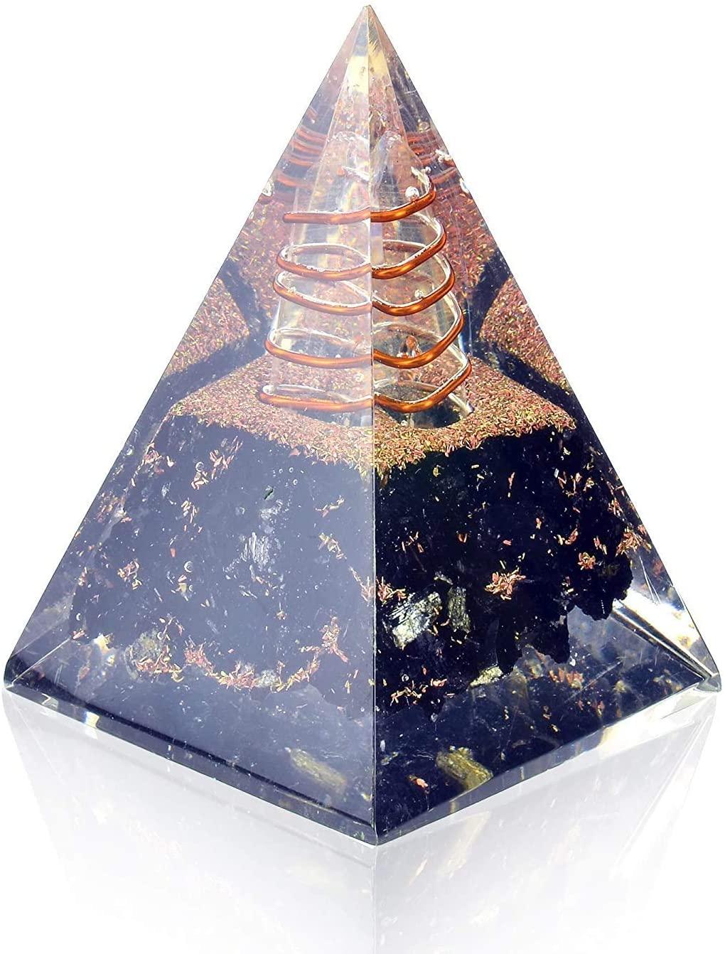 e-Click Black Tourmaline Energy Generator Crystal-Chakra Balancing Orgone Crystal Nubian Orgonite Pyramid Reiki Pyramid/Energy Points/EMF Protection Meditation Yoga Energy Generator