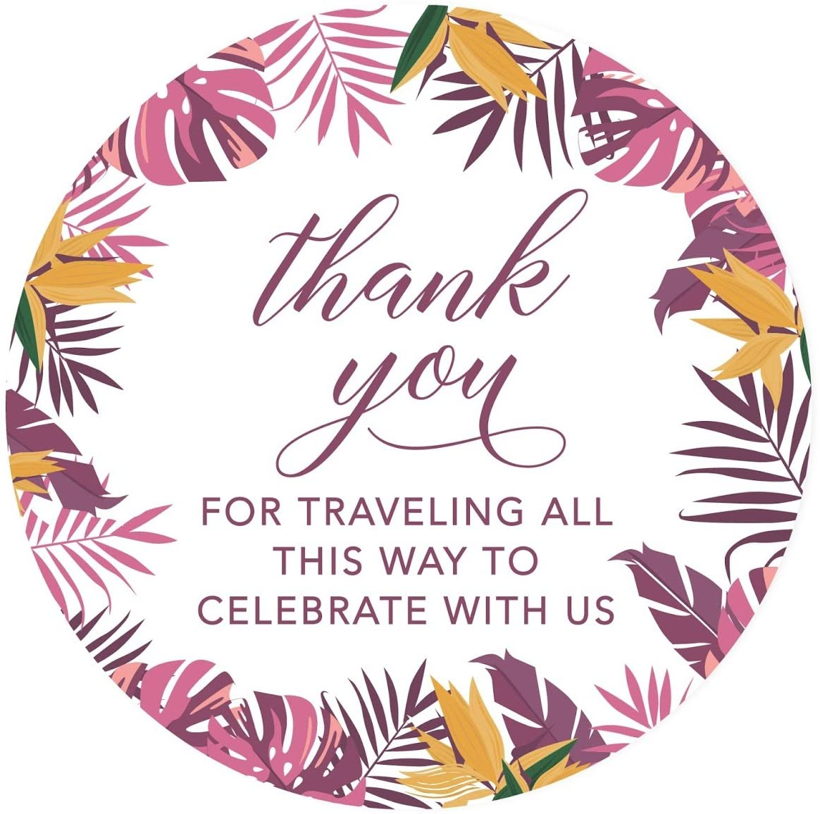 Andaz Press Tropical Palm Leaves Round Circle Label Stickers, 2-inch, Purple and Yellow, Thanks for Traveling All This Way to Celebrate with US, 40-Pack