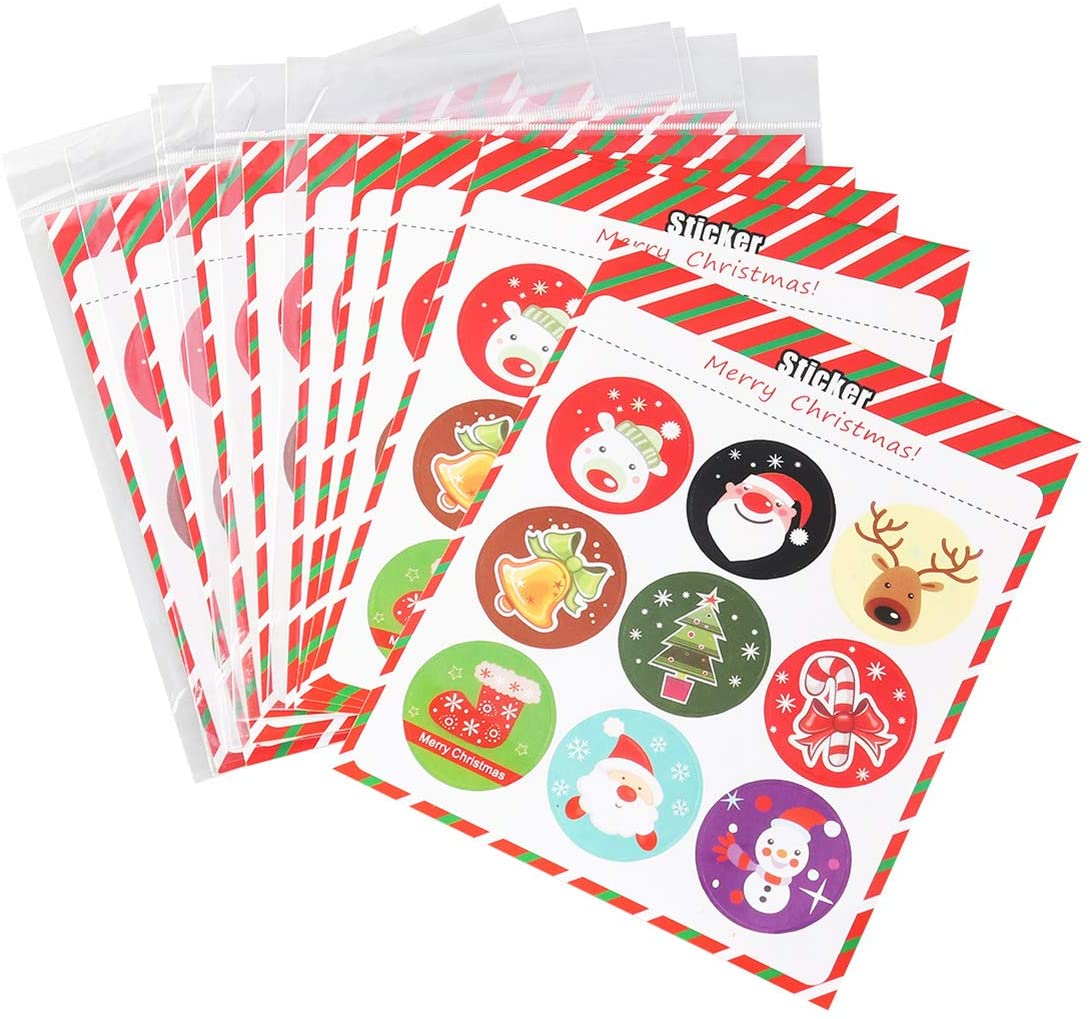 NUOBESTY 10 pcs Christmas Paper Sticker Cartoon Xmas Round Sealing Label DIY Self-Adhesive Wrapping Label Paster for Party