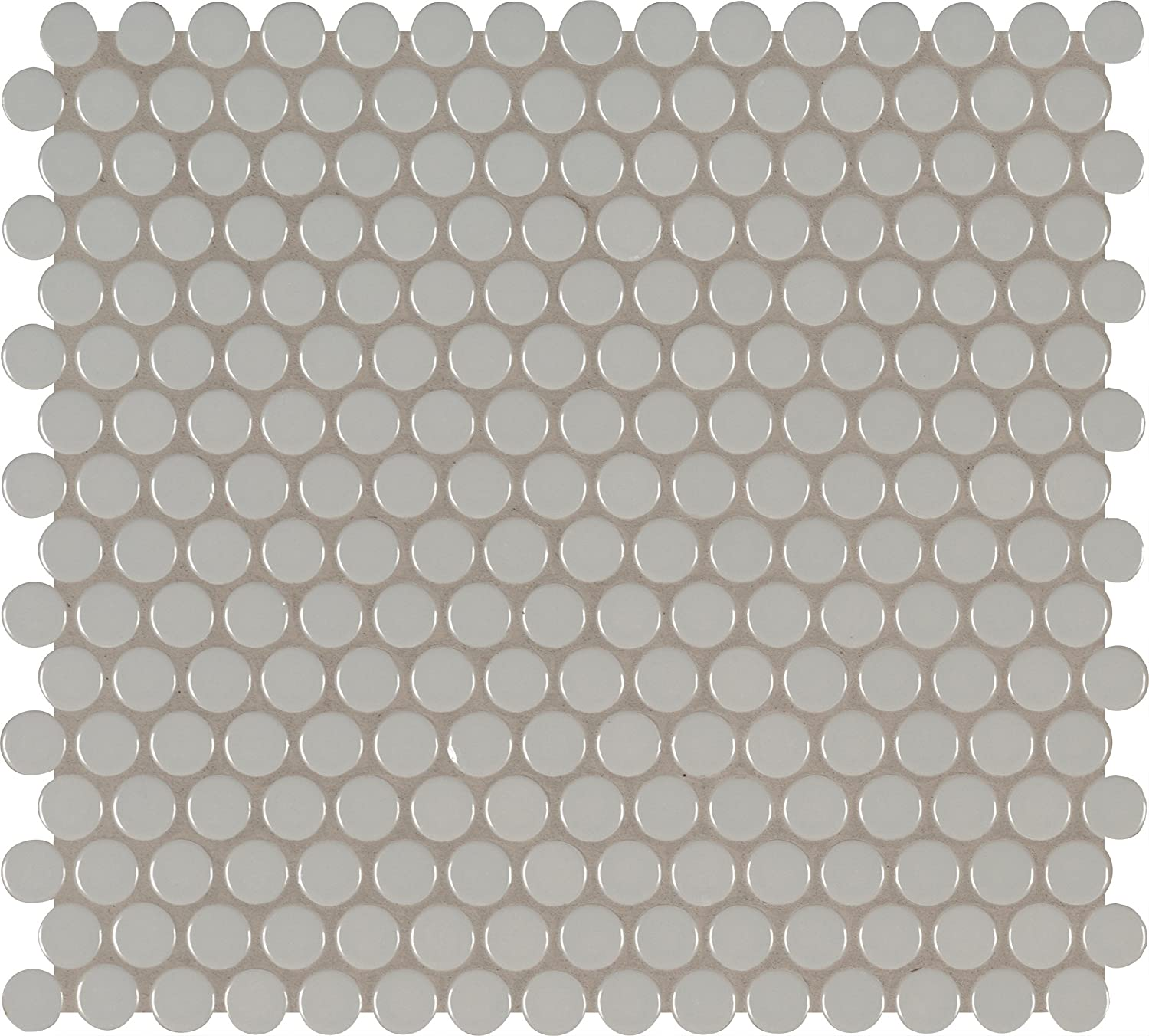 MS International AMZ-M-00230 Gray Glossy Penny Round Mosaic Tile, 11.57in x 15in, 20 Piece