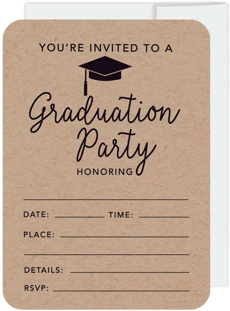 Andaz Press Graduation Invitations with Envelopes, 5x7-inch, Kraft Brown Tan, 24-Pack, Junior High School College University Masters PhD Grad Party Invites