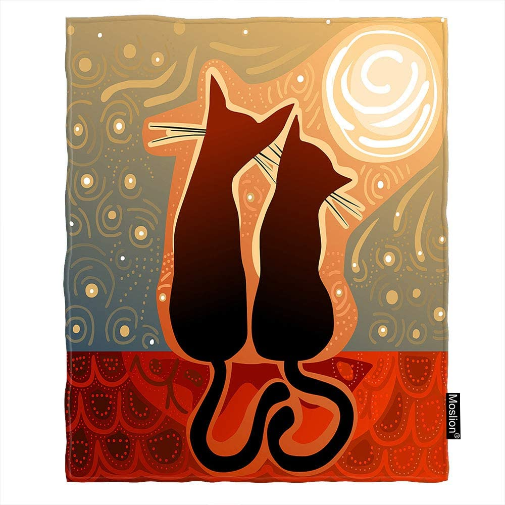 Moslion Two Cats Watching Moon On Roof Throw Blanket 60x80 Inch Animal Silhouette Fall in Love Stay Together Cozy Throw Blanket for Couch Bed Sofa Car Soft Throw Blanket Flannel