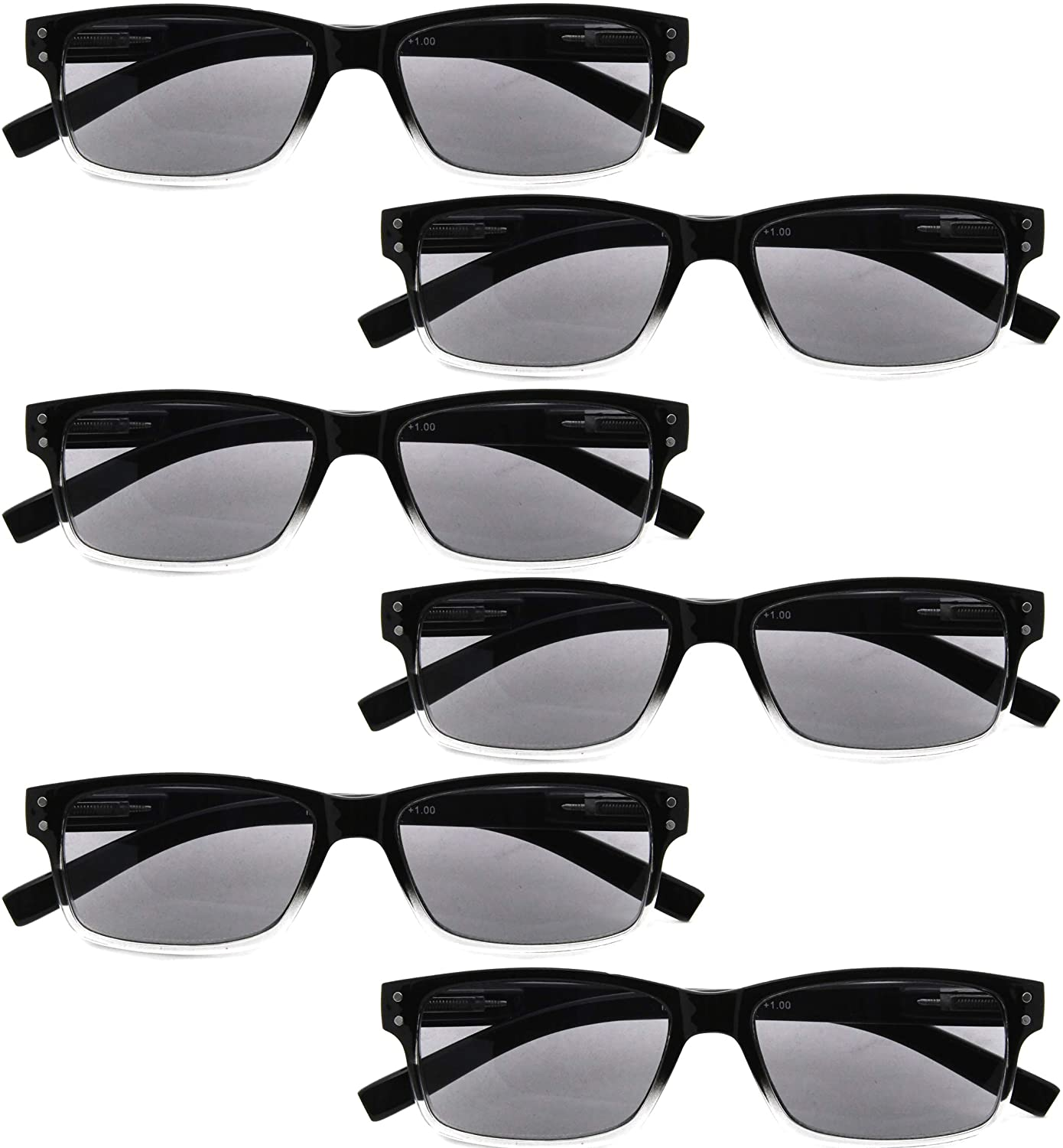 BFOCO 6 Pairs Quality Spring Hinge Reading Glasses for Men and Women Readers