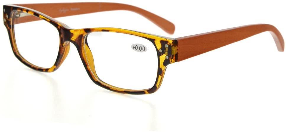 Eyekepper Spring Hinges Wood Arms Reading Glasses Men Women Tortoise +1.75