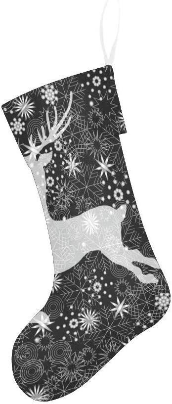 CUXWEOT Black and White Reindeer Christmas Stocking for Family Xmas Party Decoration Gift 17.52 x 7.87 Inch