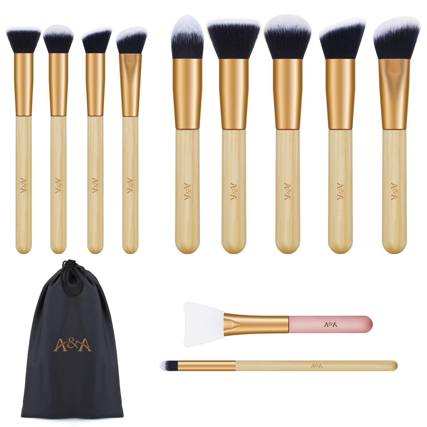 Makeup Brushes Set - 10 Pcs Professional Cosmetic Tools and 1 PCS Silicone Face Mask Brush are Made of Premium Synthetic Fiber and Bamboo Handle Rose Gold