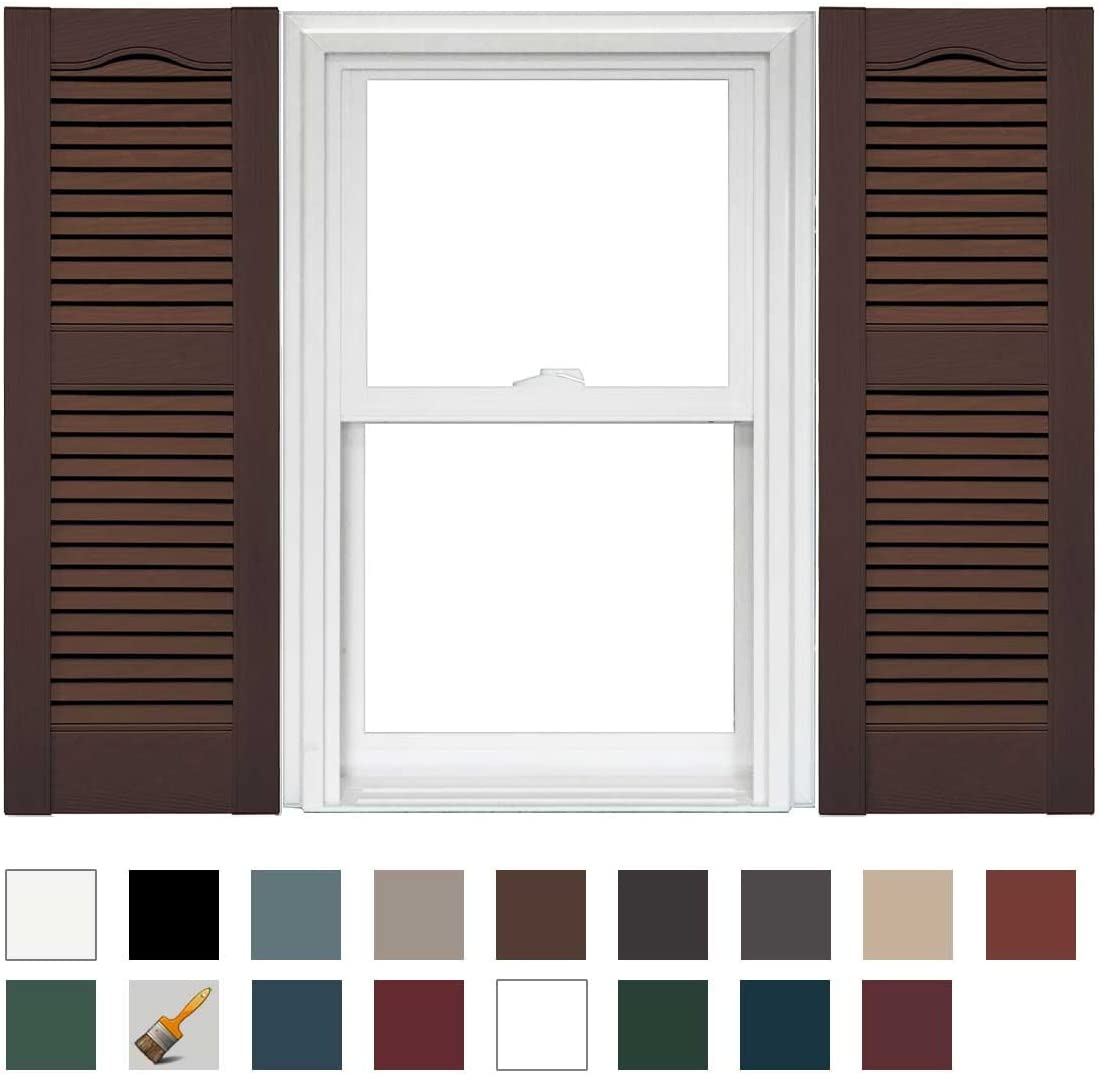 Mid America Cathedral Open Louver Vinyl Standard Shutter (1 Pair) - 14.5 x 75 009 Federal Brown