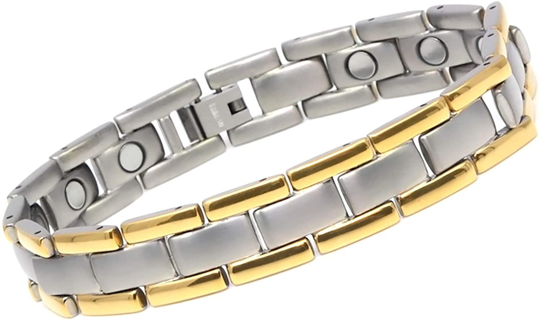 CMS MAGNETICS Novoa Men's Satin Titanium Magnetic Bracelet Made of Neodymium Magnets w/Gold Accents - 12,800 Gauss Rare Earth Magnets, B430J-0