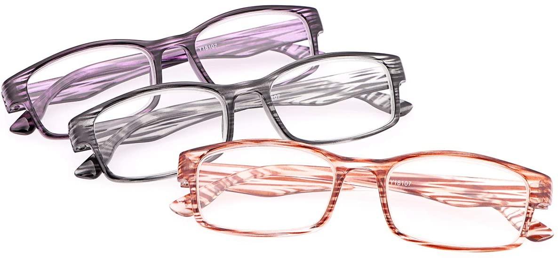 3 Pack Blue Light Blocking Reading Glasses for Men and Women UV Protection Anti Glare Eyestrain Computer Readers Lightweight Comfort Eyewear Fashion Eyeglasses