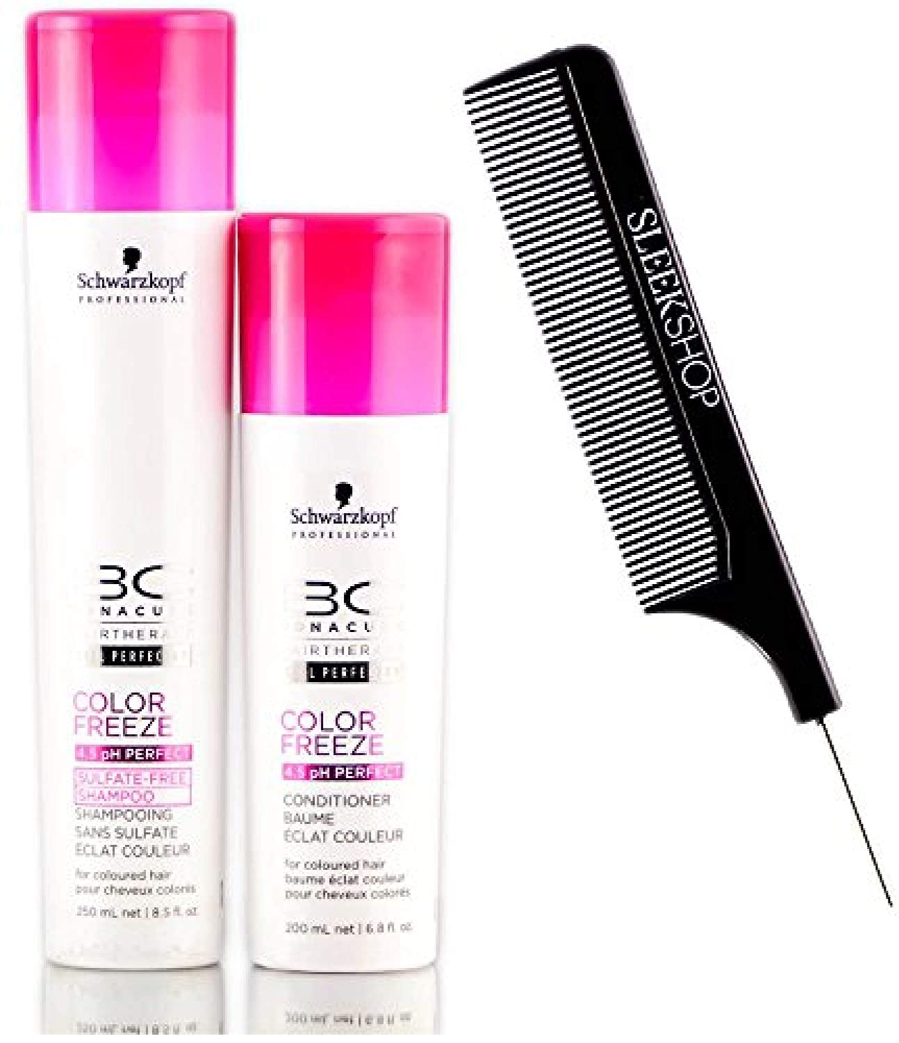 Schwarzkopf BC Bonacure COLOR FREEZE Sulfate-Free SHAMPOO & CONDITIONER Duo SET for overprocessed or colored hair (with Sleek Steel Pin Tail Comb) (8.5 oz/6.8 oz DUO KIT)