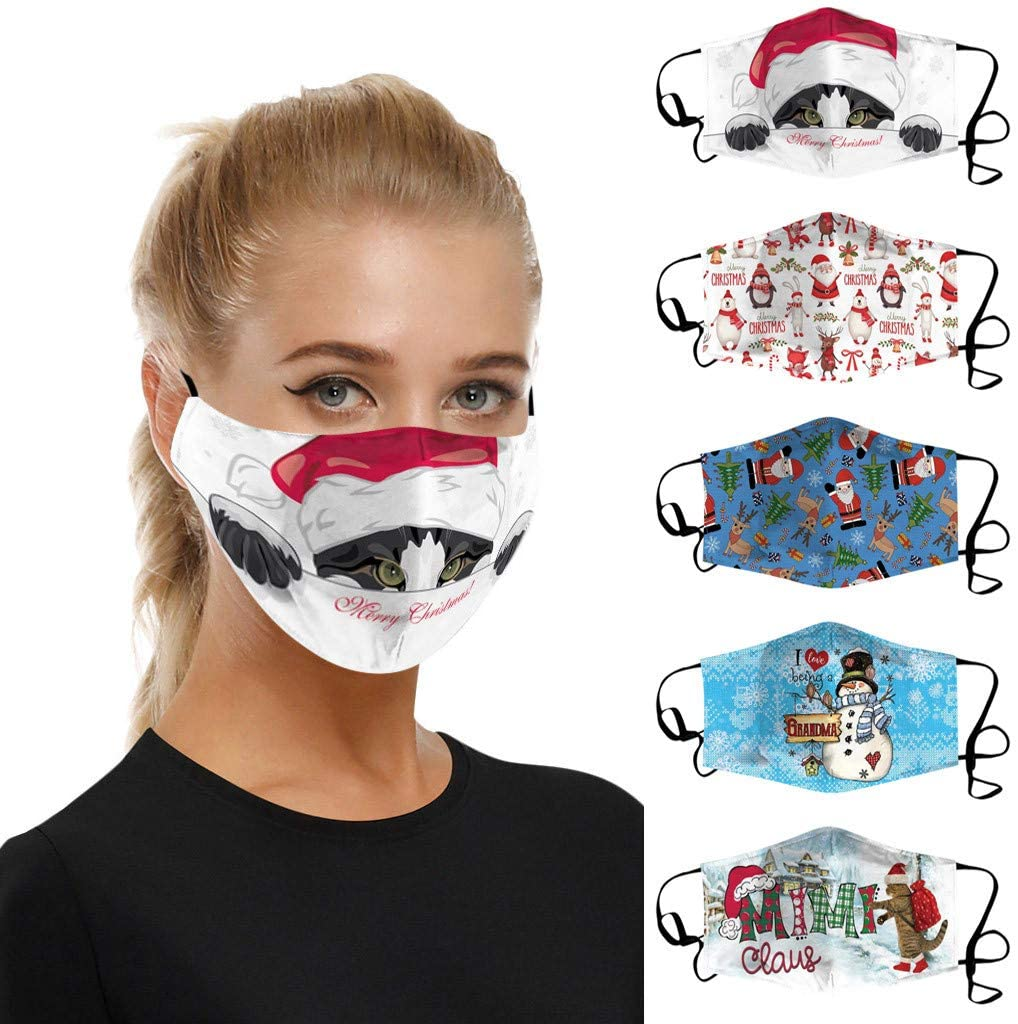 【USA In Stock Fast Delivery 】Adult Christmas Mask Womens Fashion Breathable Face Mask Reusable Washable Dust Custom Cotton Face Masks For Women
