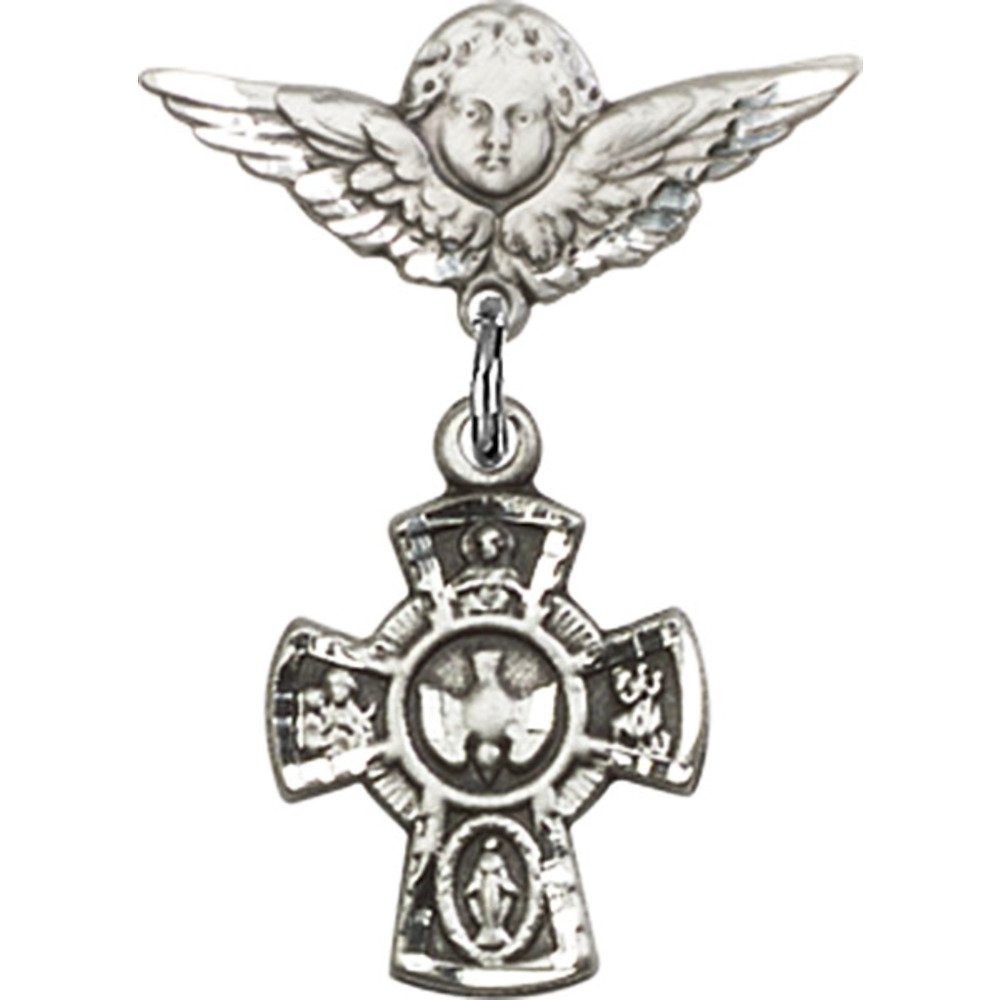 Sterling Silver Baby Badge with 5-Way Charm and Angel / Wings Pin