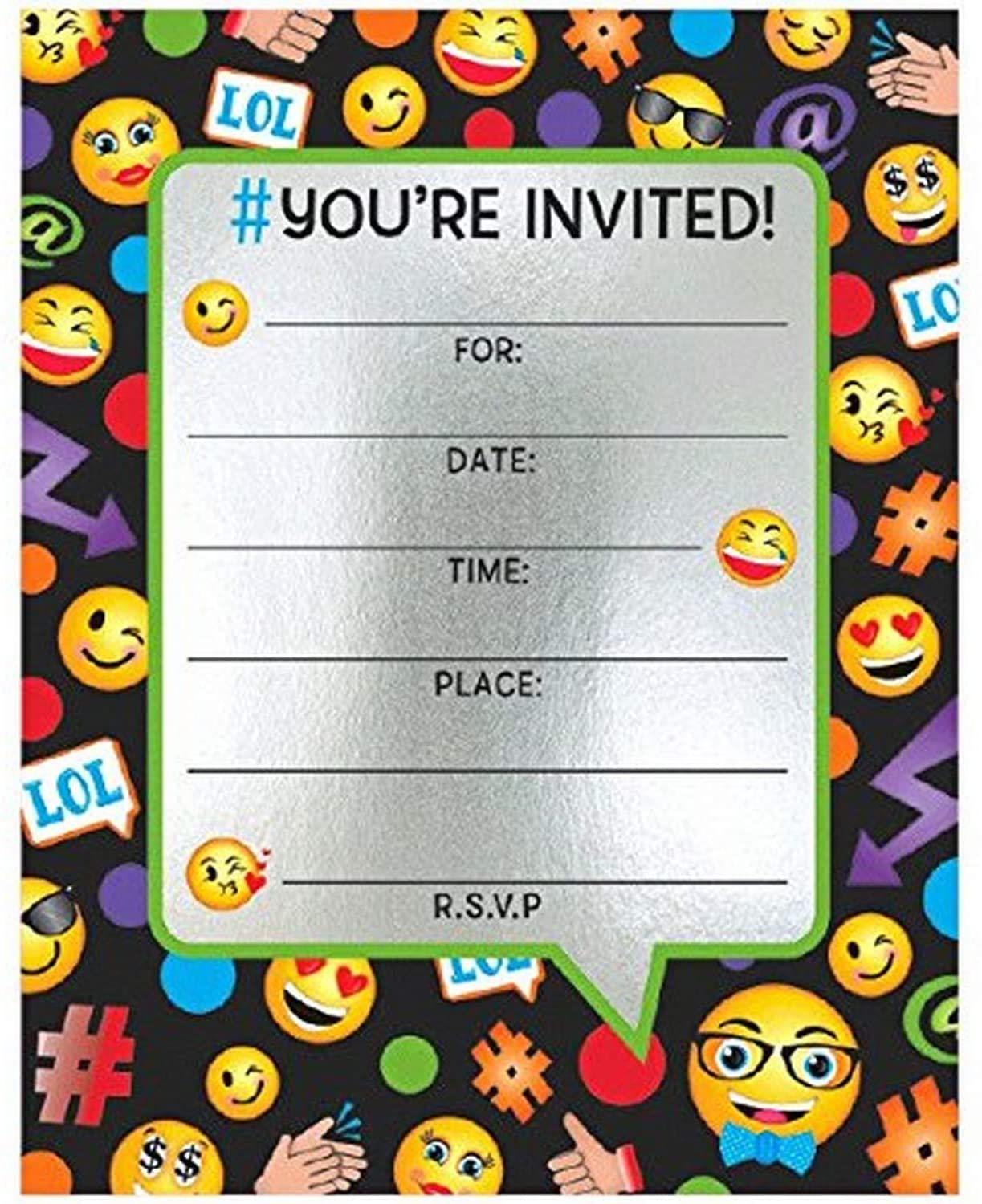 Amscan, Emoticon Large Novelty, Party Supplies Invitation Cards, 6