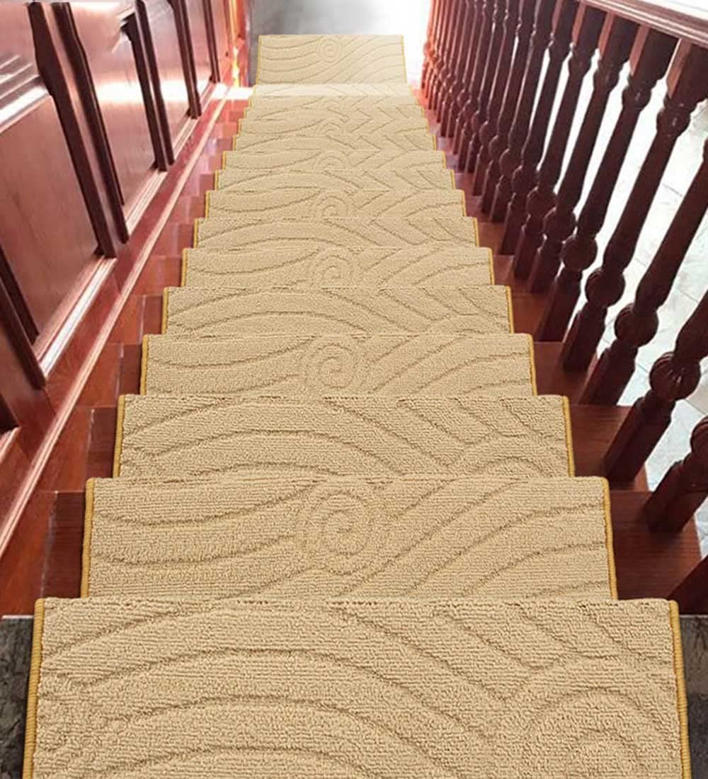 ZENGAI Wear Resistant Carpet Stair Treads Runner Rug Pad (Set of 5) Step Mat Self-Sticking Bottom, 19 Colors (Color : 13#-5 Pieces, Size : 75x(24+3) cm)